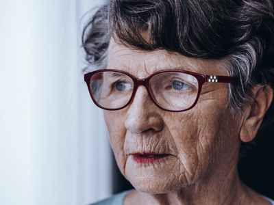 Sad Older Woman, Credit Stock Photography