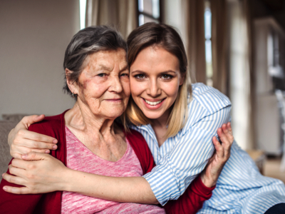 Senior And Adult Daughter, Credit: Stock Photography