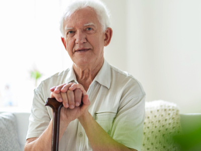 Senior Male With Cane, Credit: Stock Photography